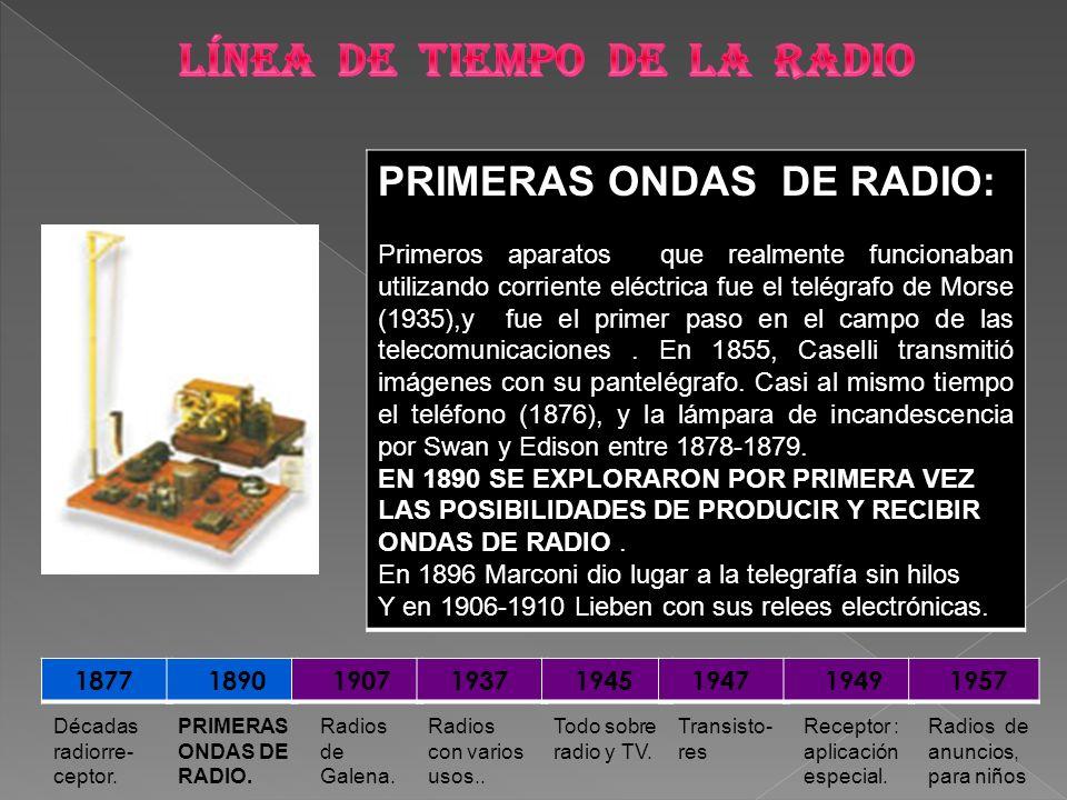 PRIMERAS ONDAS DE RADIO: Primeros aparatos que realmente funcionaban utilizando corriente eléctrica fue el telégrafo de Morse (1935),y fue el primer p