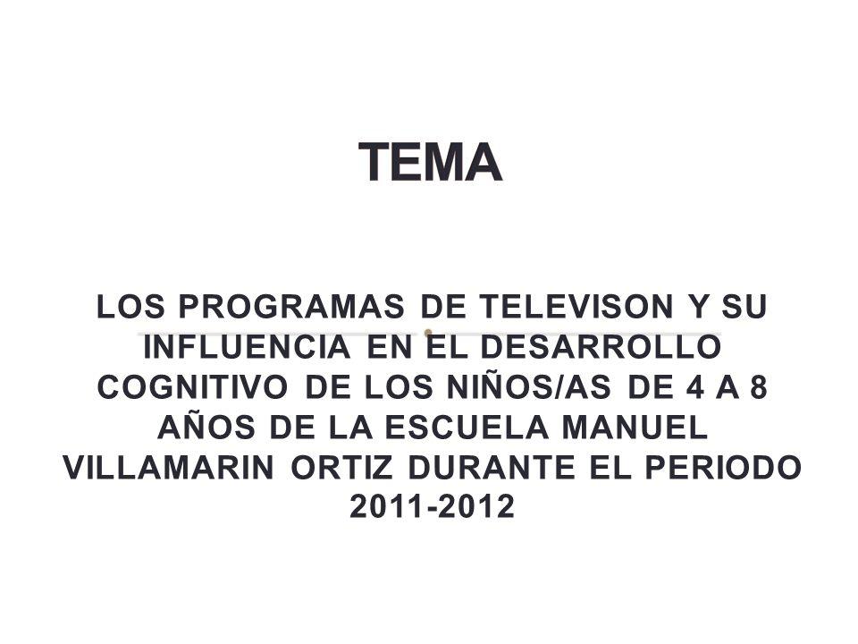 LOS PROGRAMAS DE TELEVISON Y SU INFLUENCIA EN EL DESARROLLO COGNITIVO DE LOS NIÑOS/AS DE 4 A 8 AÑOS DE LA ESCUELA MANUEL VILLAMARIN ORTIZ DURANTE EL P