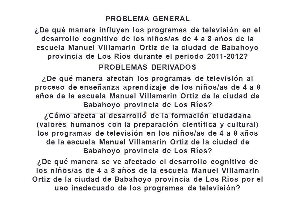 PROBLEMA GENERAL ¿De qué manera influyen los programas de televisión en el desarrollo cognitivo de los niños/as de 4 a 8 años de la escuela Manuel Vil
