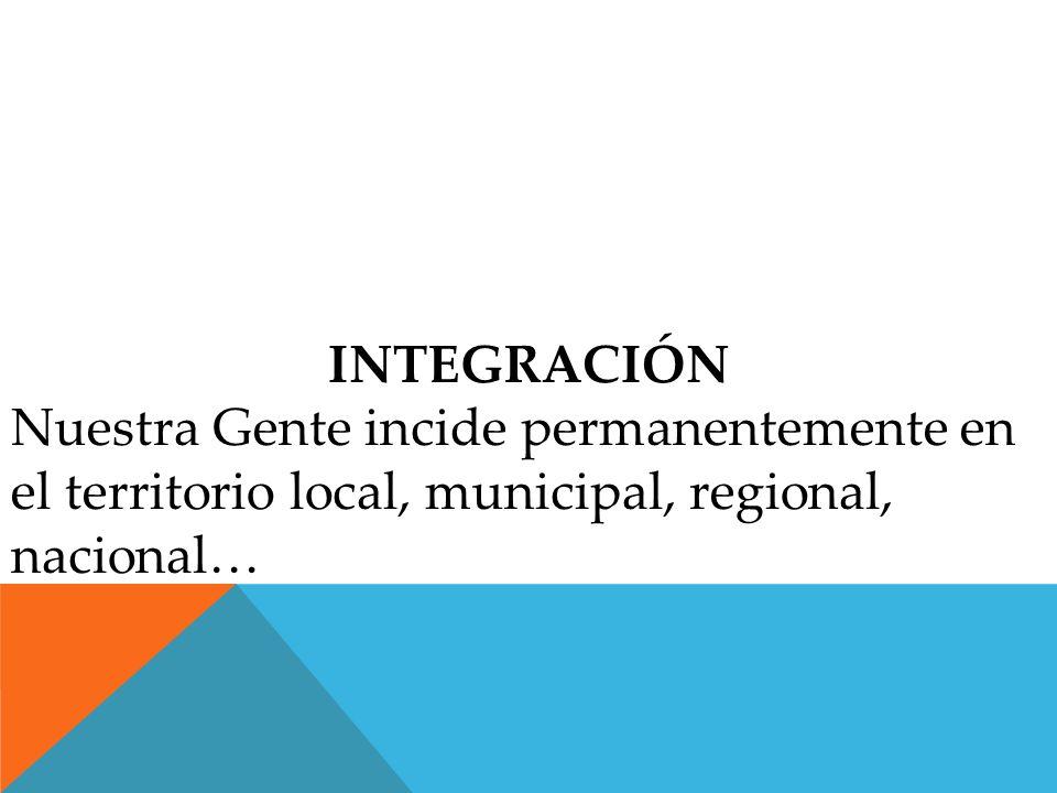 INTEGRACIÓN Nuestra Gente incide permanentemente en el territorio local, municipal, regional, nacional…
