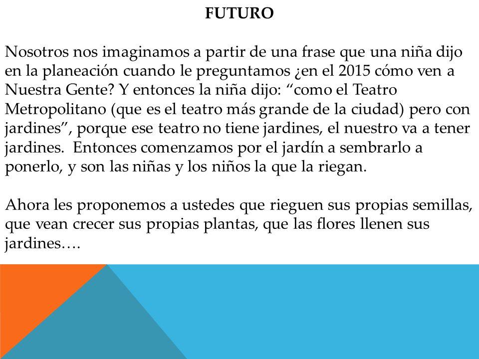 FUTURO Nosotros nos imaginamos a partir de una frase que una niña dijo en la planeación cuando le preguntamos ¿en el 2015 cómo ven a Nuestra Gente.