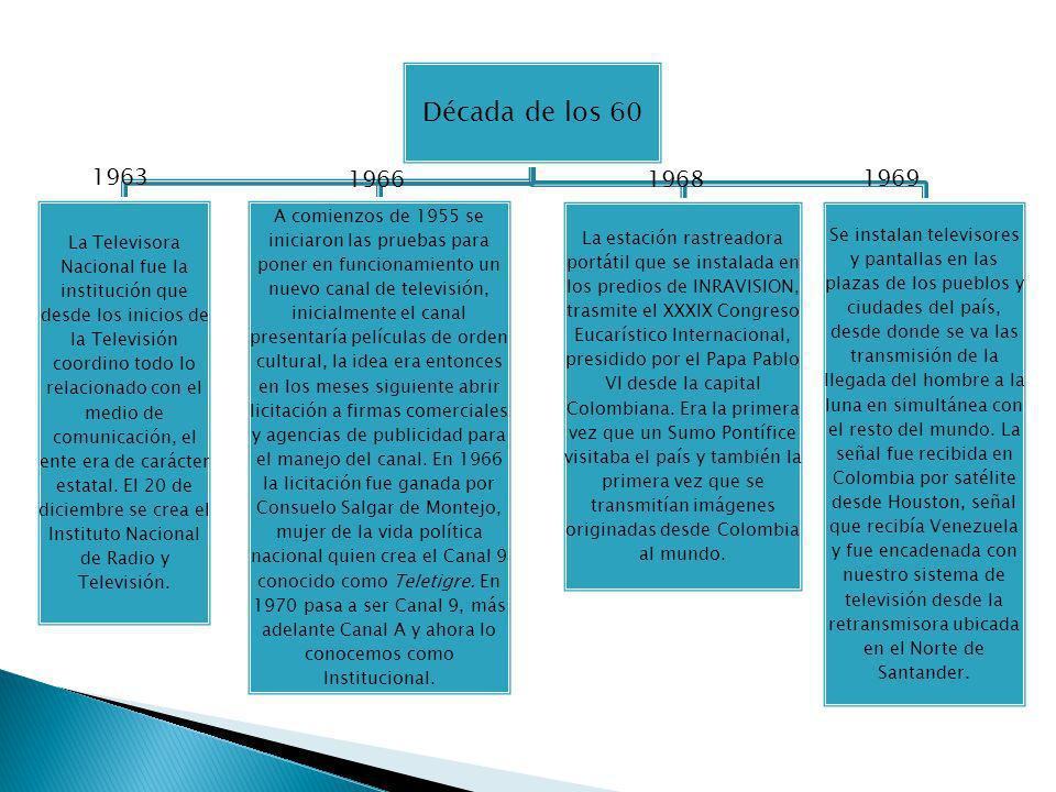 Década de los 60 La Televisora Nacional fue la institución que desde los inicios de la Televisión coordino todo lo relacionado con el medio de comunic
