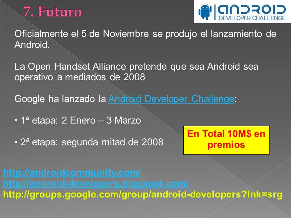 Oficialmente el 5 de Noviembre se produjo el lanzamiento de Android. La Open Handset Alliance pretende que sea Android sea operativo a mediados de 200