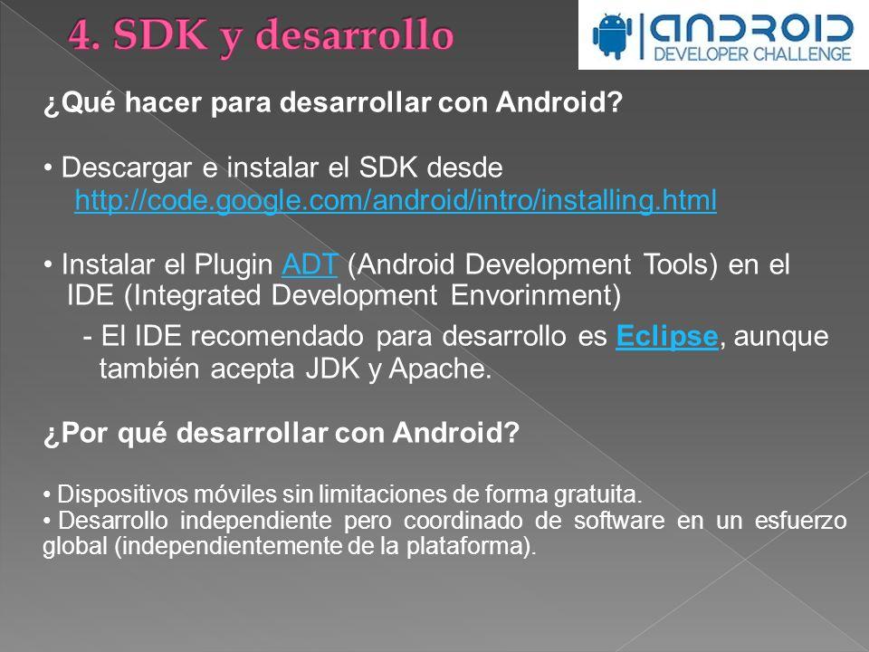 ¿Qué hacer para desarrollar con Android? Descargar e instalar el SDK desde http://code.google.com/android/intro/installing.html Instalar el Plugin ADT