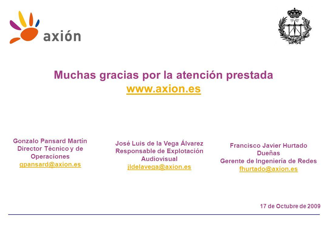 17 de Octubre de 2009 Muchas gracias por la atención prestada www.axion.es Gonzalo Pansard Martín Director Técnico y de Operaciones gpansard@axion.es