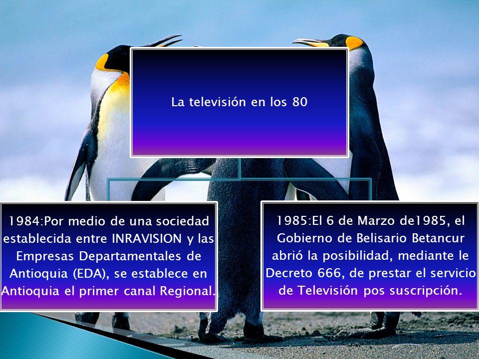 La televisión en los 90 1990:El Congreso de la República junto con el Presiente Cesar Gaviria Trujillo, en sesión ordinaria, el 15 de Diciembre de 1990, aprueban la nueva legislación sobre Televisión.