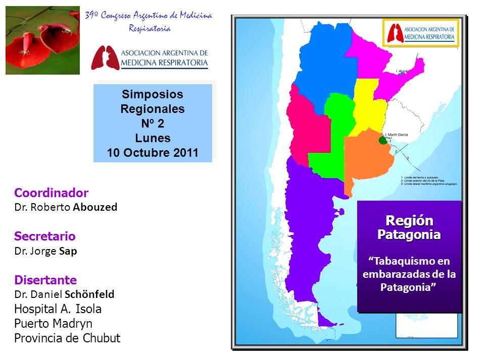 Número de cigarrillos Entre 1 y 9: 70% Entre 10 y 19: 21% Más de 20: 9% 72,7% 9,1% 18,2% Fumadoras actuales 1 a 9 58,5% 10 a 19 26,5% 20 o más 14,6% (Encuesta Nacional) Resultados Tabaquismo en embarazadas de Puerto Madryn