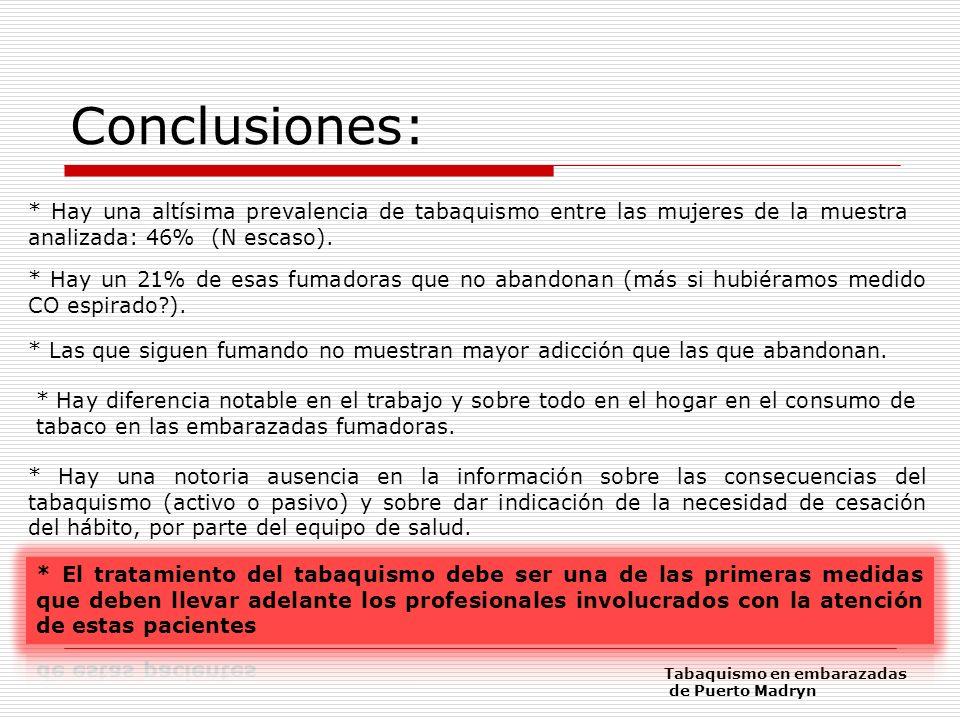 Conclusiones: * Hay una altísima prevalencia de tabaquismo entre las mujeres de la muestra analizada: 46% (N escaso). * Hay un 21% de esas fumadoras q