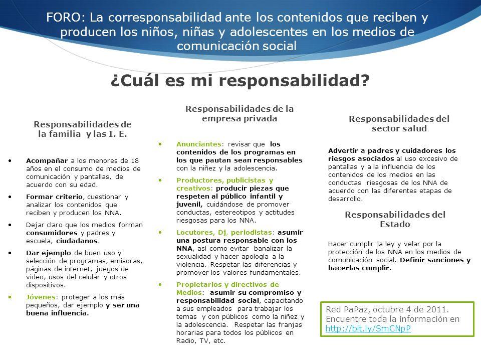 FORO: La corresponsabilidad ante los contenidos que reciben y producen los niños, niñas y adolescentes en los medios de comunicación social Acompañar