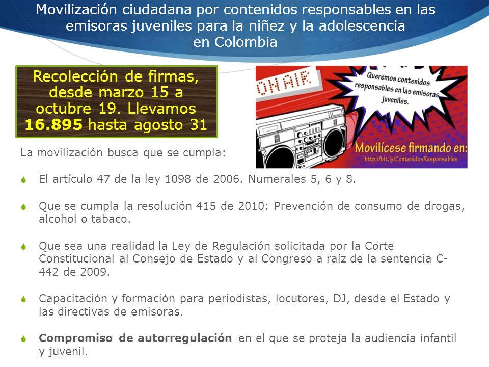 Movilización ciudadana por contenidos responsables en las emisoras juveniles para la niñez y la adolescencia en Colombia La movilización busca que se