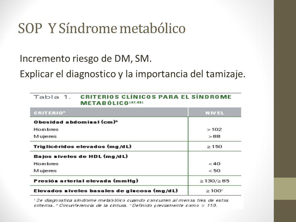 SOP Y Síndrome metabólico Incremento riesgo de DM, SM. Explicar el diagnostico y la importancia del tamizaje.