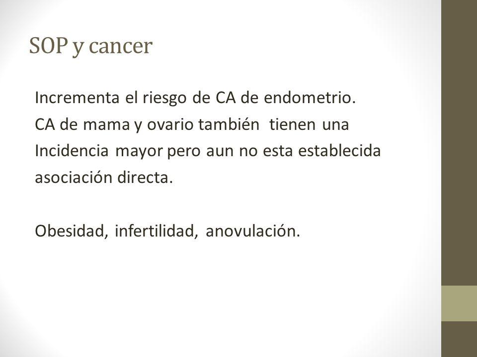 SOP y cancer Incrementa el riesgo de CA de endometrio. CA de mama y ovario también tienen una Incidencia mayor pero aun no esta establecida asociación