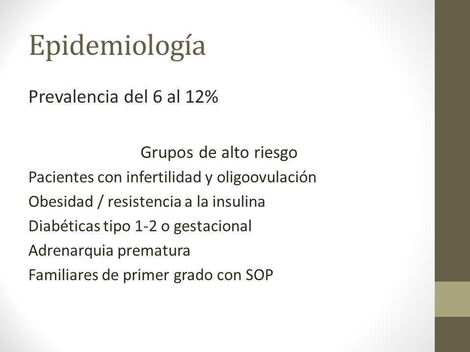 Epidemiología Prevalencia del 6 al 12% Grupos de alto riesgo Pacientes con infertilidad y oligoovulación Obesidad / resistencia a la insulina Diabétic