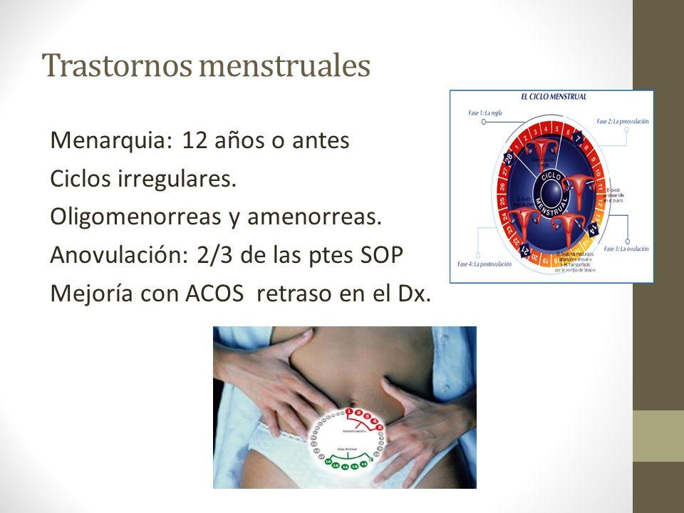 Trastornos menstruales Menarquia: 12 años o antes Ciclos irregulares. Oligomenorreas y amenorreas. Anovulación: 2/3 de las ptes SOP Mejoría con ACOS r