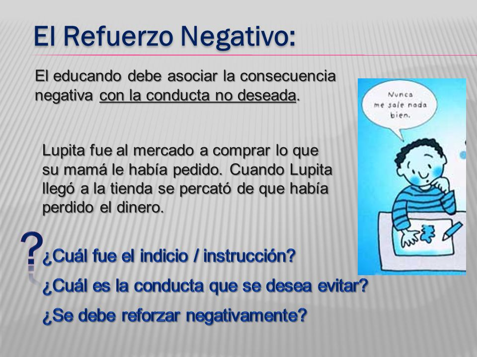 El Refuerzo Negativo: El educando debe asociar la consecuencia negativa con la conducta no deseada. Lupita fue al mercado a comprar lo que su mamá le