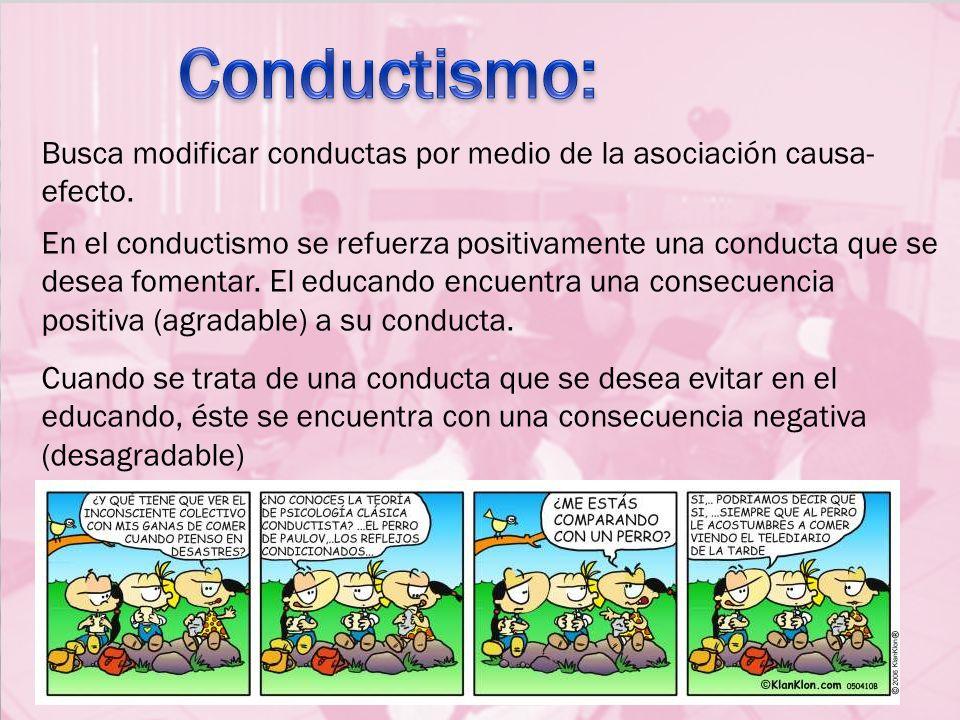 Busca modificar conductas por medio de la asociación causa- efecto. En el conductismo se refuerza positivamente una conducta que se desea fomentar. El