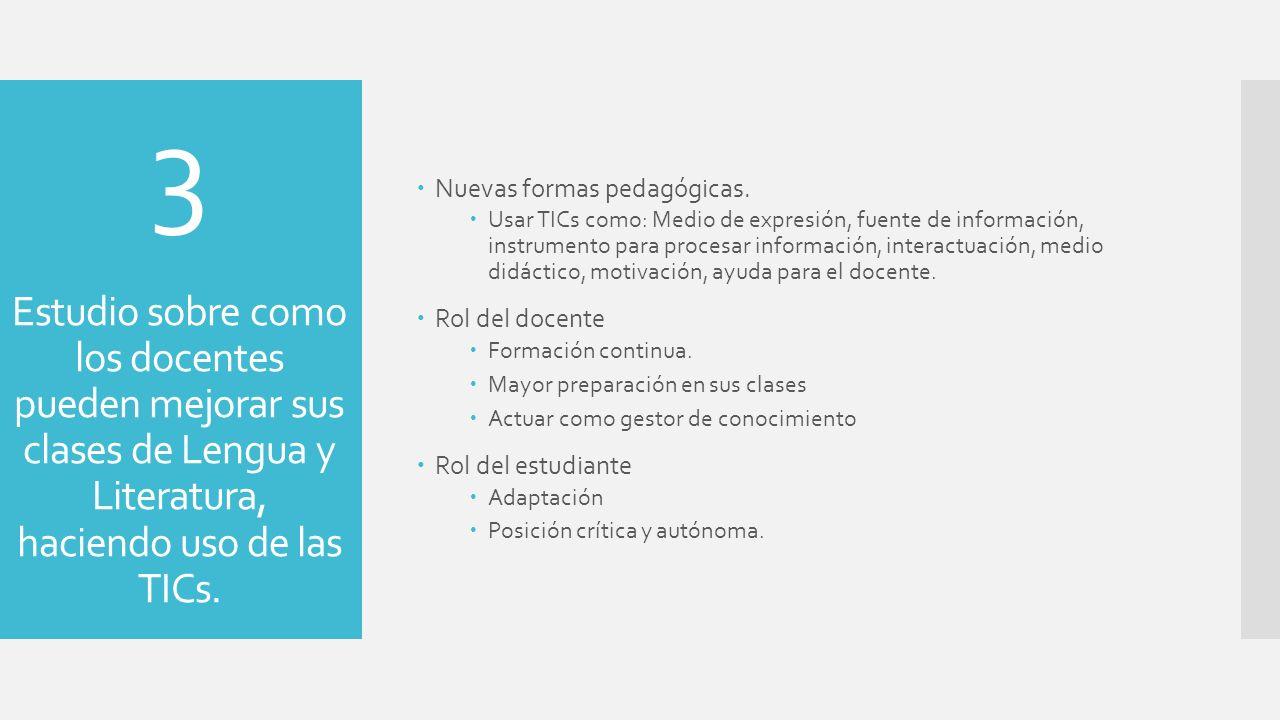 3 Estudio sobre como los docentes pueden mejorar sus clases de Lengua y Literatura, haciendo uso de las TICs. Nuevas formas pedagógicas. Usar TICs com