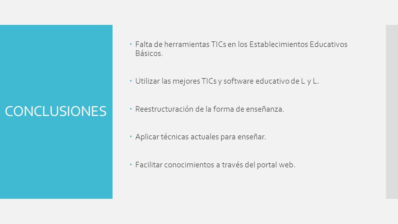 CONCLUSIONES Falta de herramientas TICs en los Establecimientos Educativos Básicos. Utilizar las mejores TICs y software educativo de L y L. Reestruct