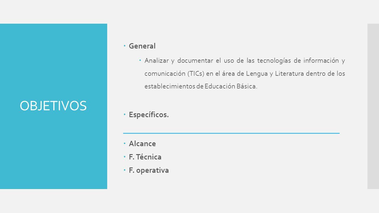 OBJETIVOS General Analizar y documentar el uso de las tecnologías de información y comunicación (TICs) en el área de Lengua y Literatura dentro de los