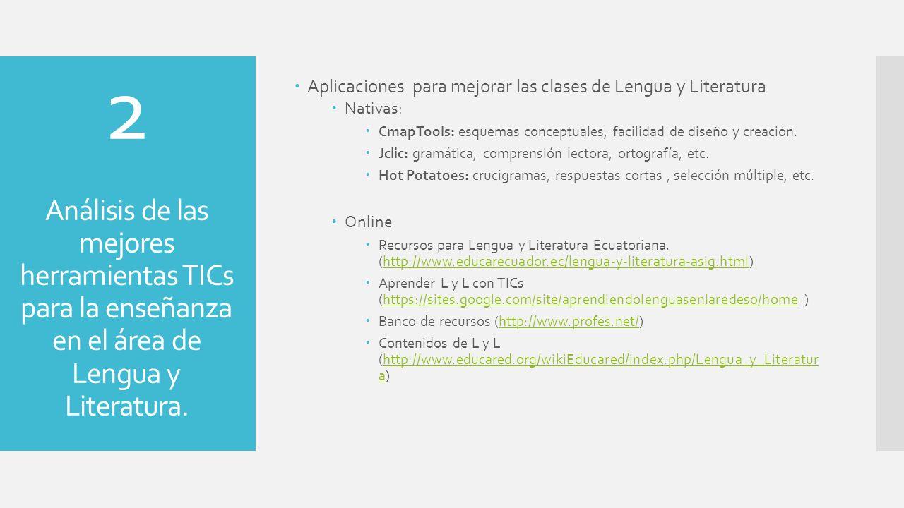 Aplicaciones para mejorar las clases de Lengua y Literatura Nativas: CmapTools: esquemas conceptuales, facilidad de diseño y creación. Jclic: gramátic