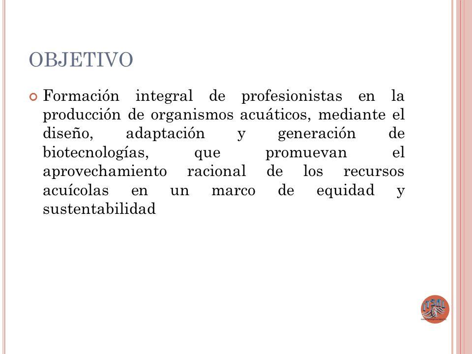 OBJETIVO Formación integral de profesionistas en la producción de organismos acuáticos, mediante el diseño, adaptación y generación de biotecnologías,