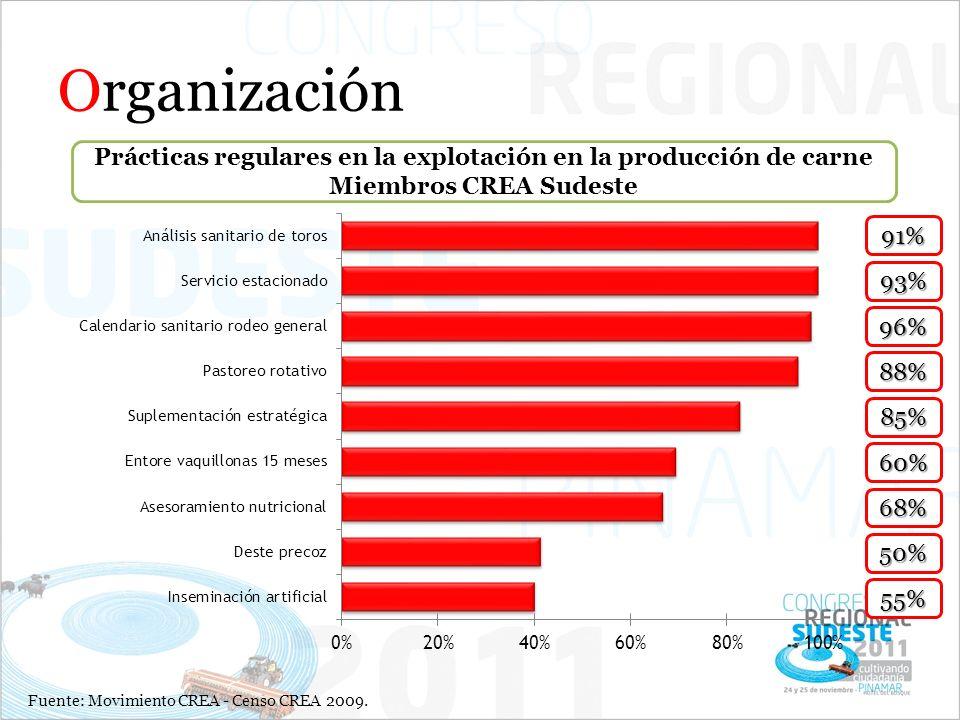 Organización Prácticas regulares en la explotación en la producción de carne Miembros CREA Sudeste Fuente: Movimiento CREA - Censo CREA 2009. 91% 93%