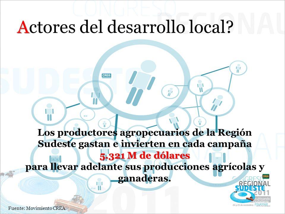 A Actores del desarrollo local? Los productores agropecuarios de la Región Sudeste gastan e invierten en cada campaña 5.321 M de dólares para llevar a