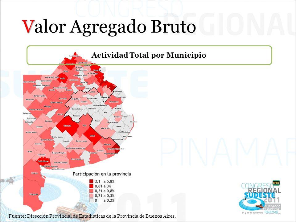 V Valor Agregado Bruto Fuente: Dirección Provincial de Estadísticas de la Provincia de Buenos Aires. Actividad Total por Municipio