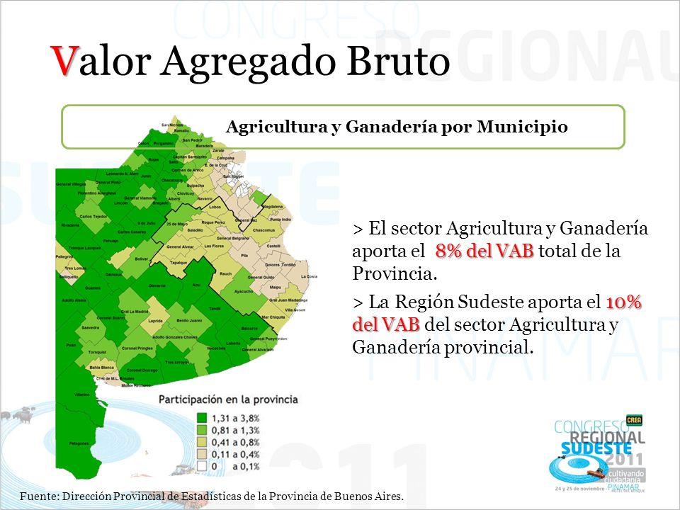 Fuente: Dirección Provincial de Estadísticas de la Provincia de Buenos Aires. V Valor Agregado Bruto Agricultura y Ganadería por Municipio 8%del VAB >