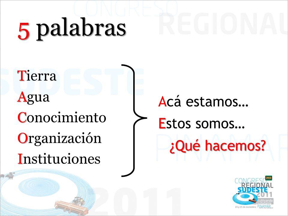 5 palabras T Tierra A Agua C Conocimiento O Organización I Instituciones Acá estamos… E Estos somos… ¿Qué hacemos?