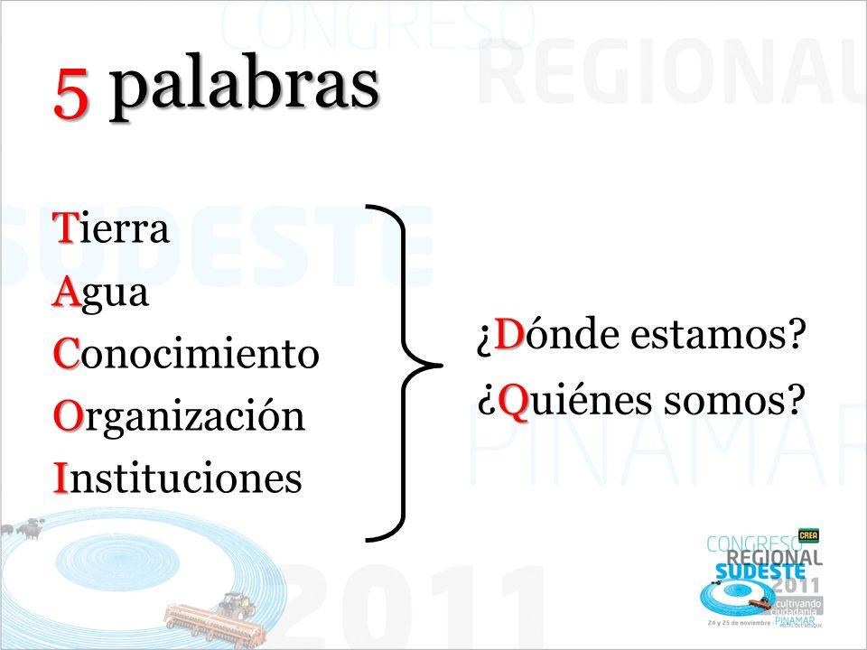5 palabras T Tierra A Agua C Conocimiento O Organización I Instituciones D ¿ Dónde estamos? Q ¿Quiénes somos?