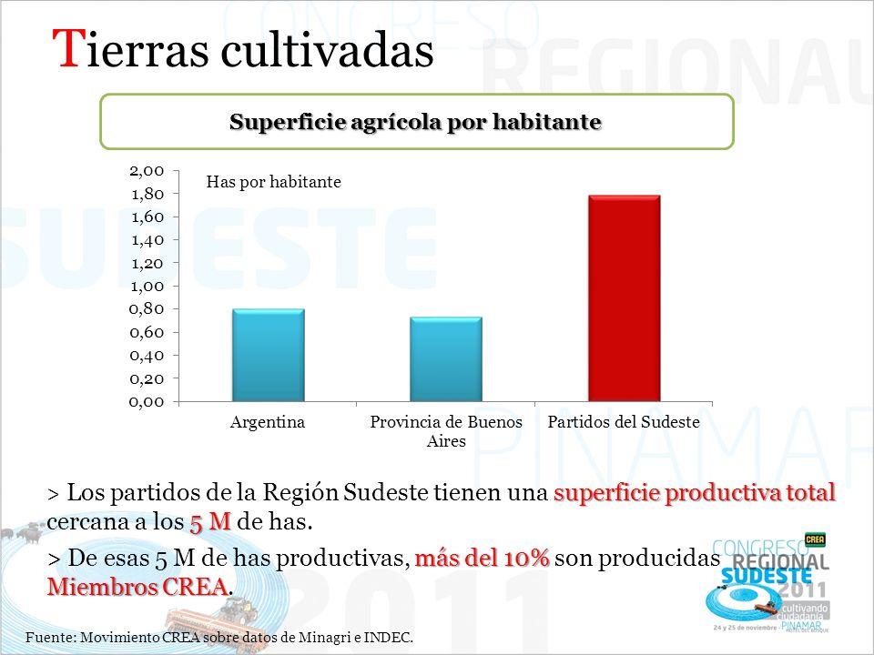 T ierras cultivadas superficie productiva total 5 M > Los partidos de la Región Sudeste tienen una superficie productiva total cercana a los 5 M de ha