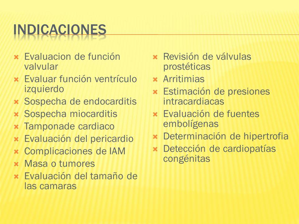 Evaluacion de función valvular Evaluar función ventrículo izquierdo Sospecha de endocarditis Sospecha miocarditis Tamponade cardiaco Evaluación del pe