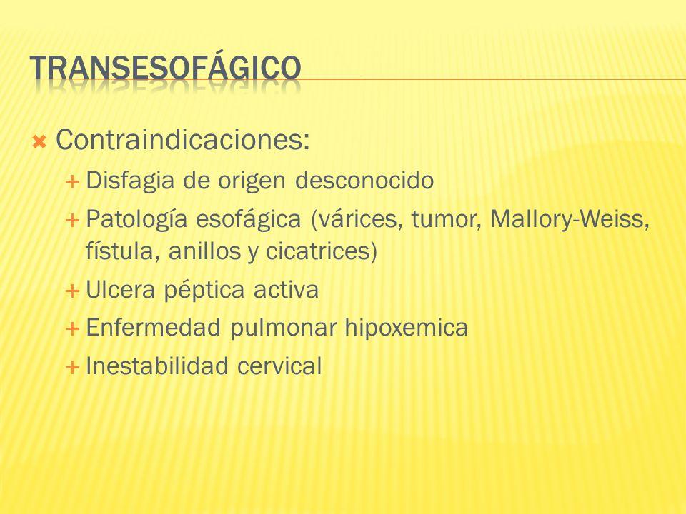 Contraindicaciones: Disfagia de origen desconocido Patología esofágica (várices, tumor, Mallory-Weiss, fístula, anillos y cicatrices) Ulcera péptica a