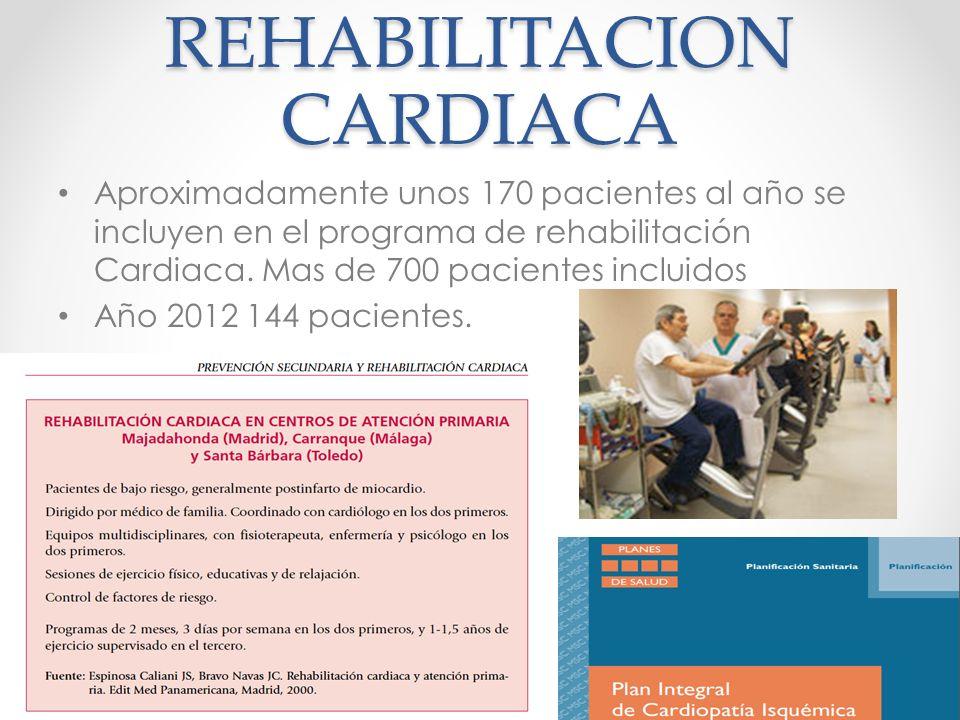 REHABILITACION CARDIACA Aproximadamente unos 170 pacientes al año se incluyen en el programa de rehabilitación Cardiaca. Mas de 700 pacientes incluido