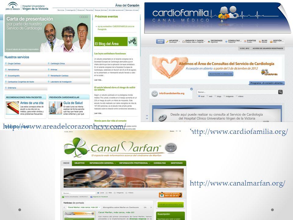 http://www.cardiofamilia.org/ http://www.canalmarfan.org/ http://www.areadelcorazonhcvv.com/