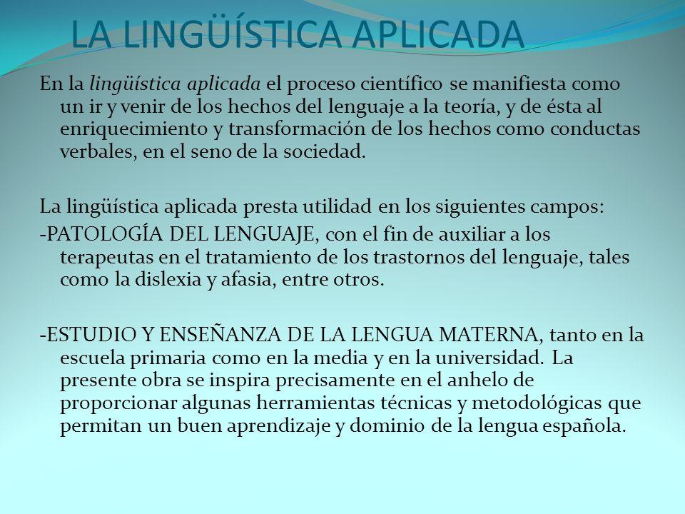 LA LINGÜÍSTICA APLICADA En la lingüística aplicada el proceso científico se manifiesta como un ir y venir de los hechos del lenguaje a la teoría, y de