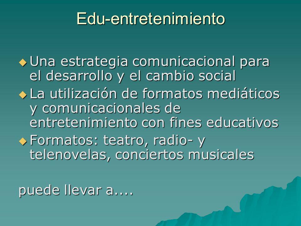 Edu-entretenimiento Una estrategia comunicacional para el desarrollo y el cambio social Una estrategia comunicacional para el desarrollo y el cambio s