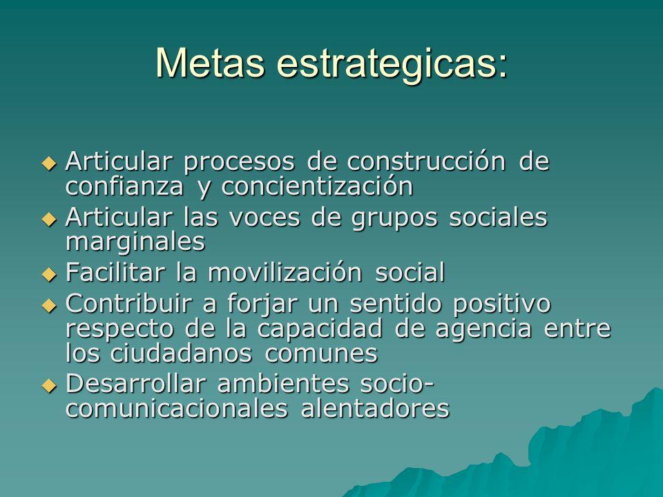 Metas estrategicas: Articular procesos de construcción de confianza y concientización Articular procesos de construcción de confianza y concientizació