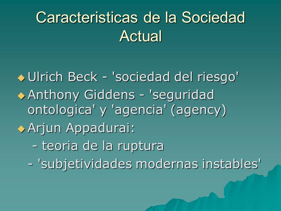 Caracteristicas de la Sociedad Actual Ulrich Beck - 'sociedad del riesgo' Ulrich Beck - 'sociedad del riesgo' Anthony Giddens - 'seguridad ontologica'