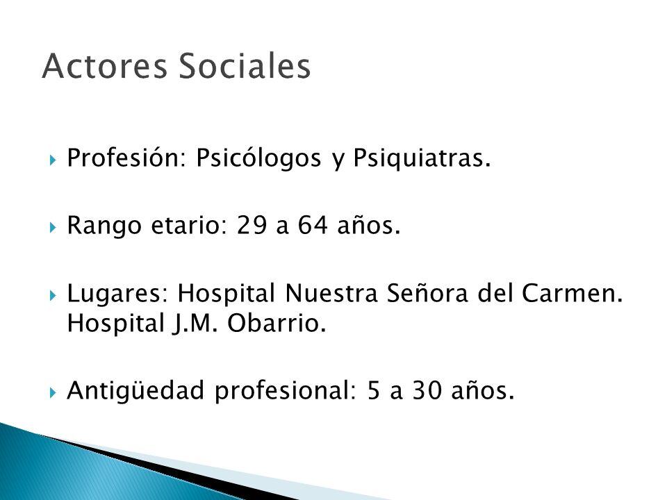 Profesión: Psicólogos y Psiquiatras. Rango etario: 29 a 64 años. Lugares: Hospital Nuestra Señora del Carmen. Hospital J.M. Obarrio. Antigüedad profes
