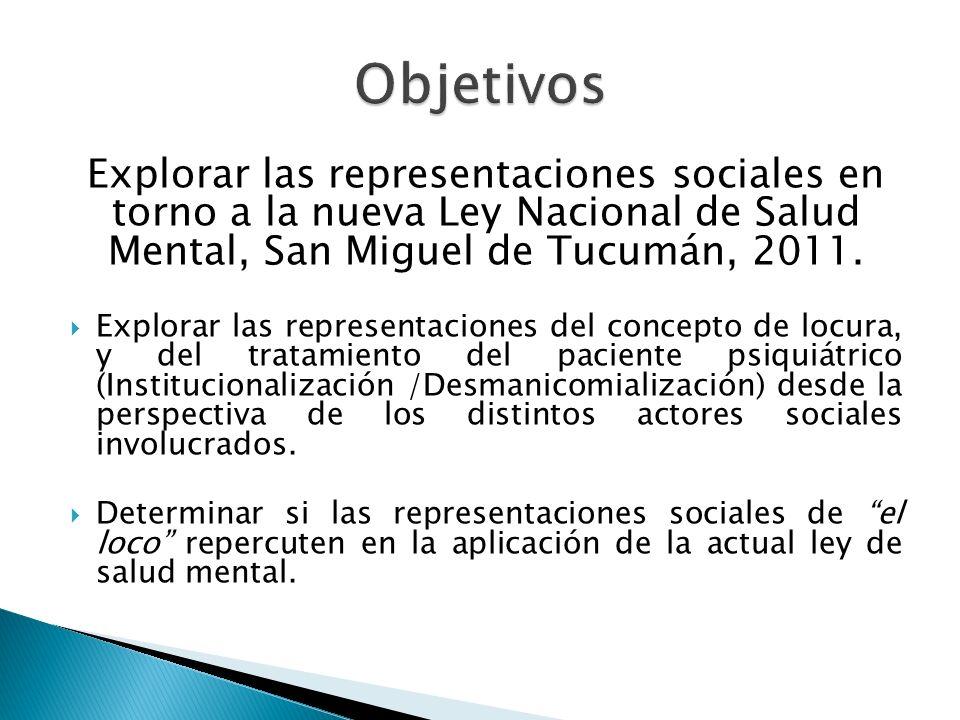 Explorar las representaciones sociales en torno a la nueva Ley Nacional de Salud Mental, San Miguel de Tucumán, 2011. Explorar las representaciones de