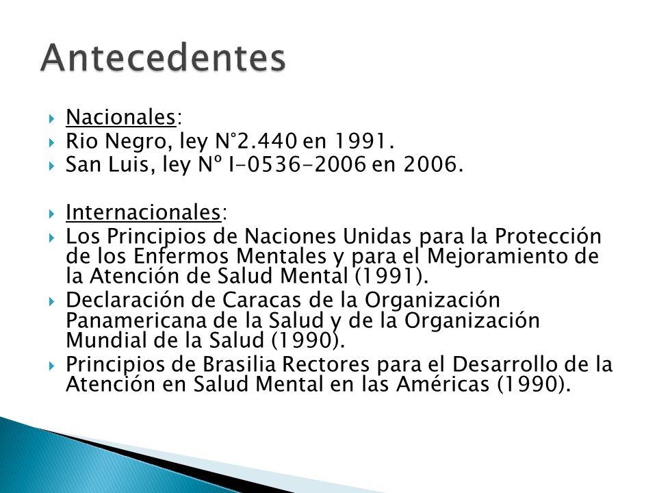 Nacionales: Rio Negro, ley N°2.440 en 1991. San Luis, ley Nº I-0536-2006 en 2006. Internacionales: Los Principios de Naciones Unidas para la Protecció
