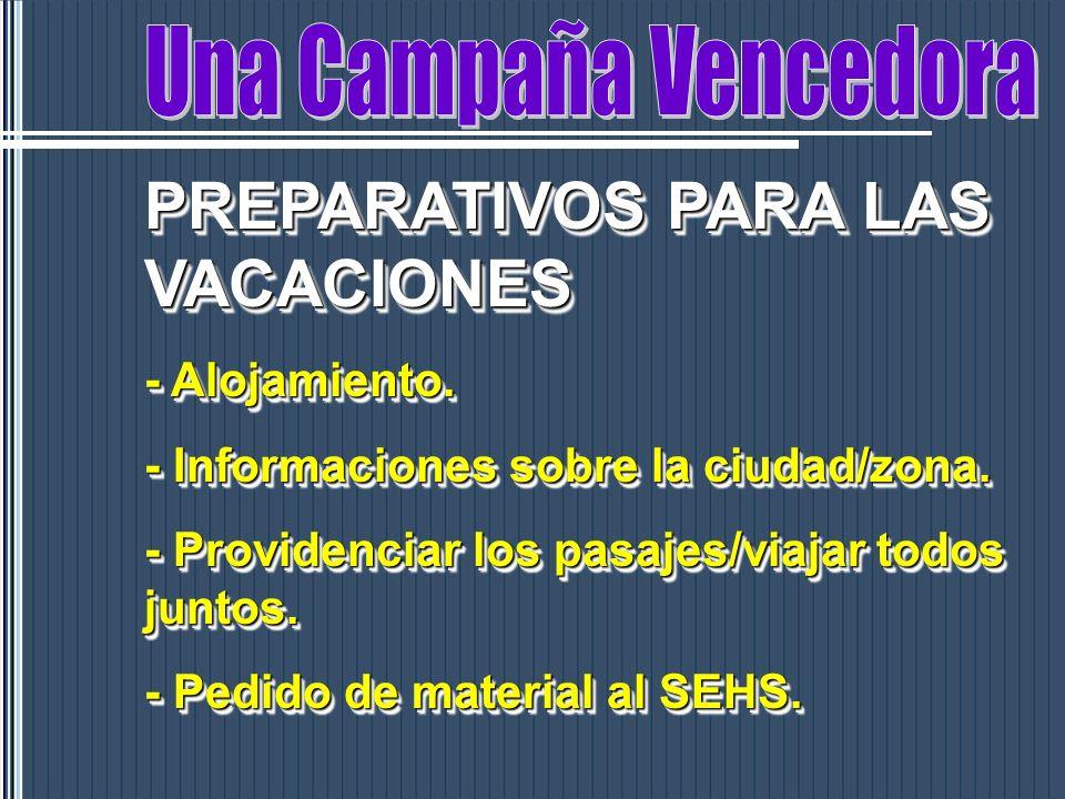 PREPARATIVOS PARA LAS VACACIONES - Alojamiento. - Informaciones sobre la ciudad/zona. - Providenciar los pasajes/viajar todos juntos. - Pedido de mate