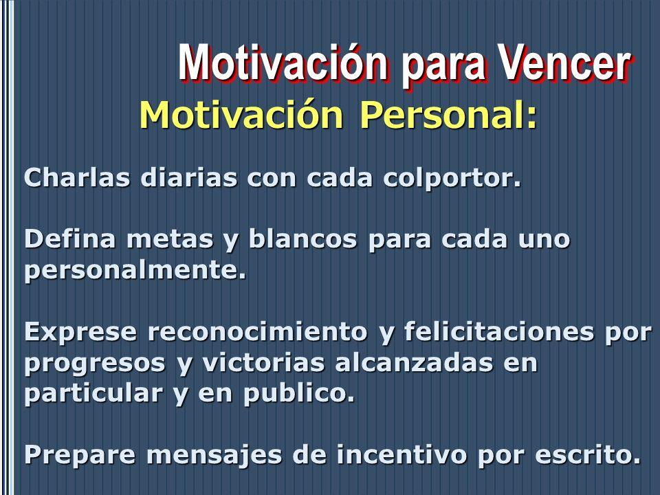 Motivación para Vencer Motivación Personal: Charlas diarias con cada colportor. Defina metas y blancos para cada uno personalmente. Exprese reconocimi