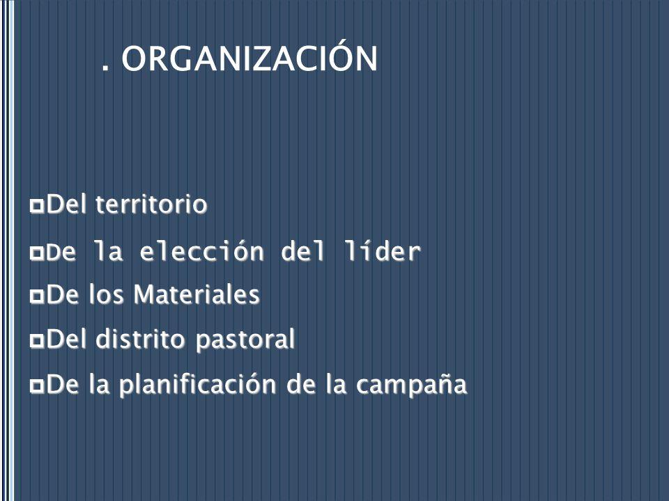 . ORGANIZACIÓN Del territorio Del territorio De la elección del líder De la elección del líder De los Materiales De los Materiales Del distrito pastor