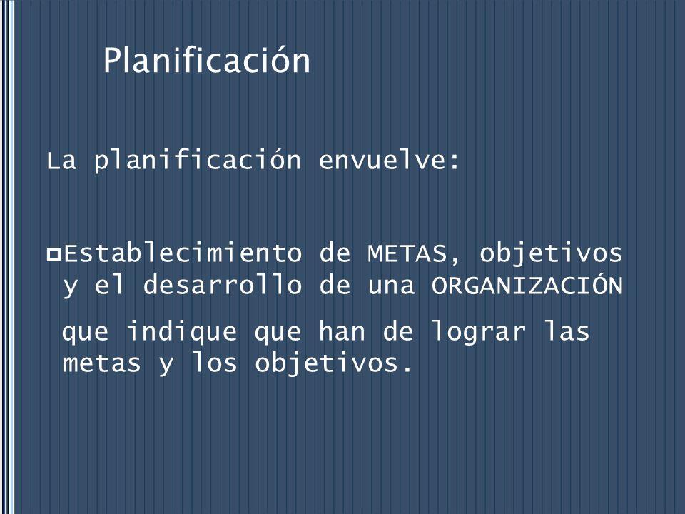 Planificación La planificación envuelve: Establecimiento de METAS, objetivos y el desarrollo de una ORGANIZACIÓN que indique que han de lograr las met