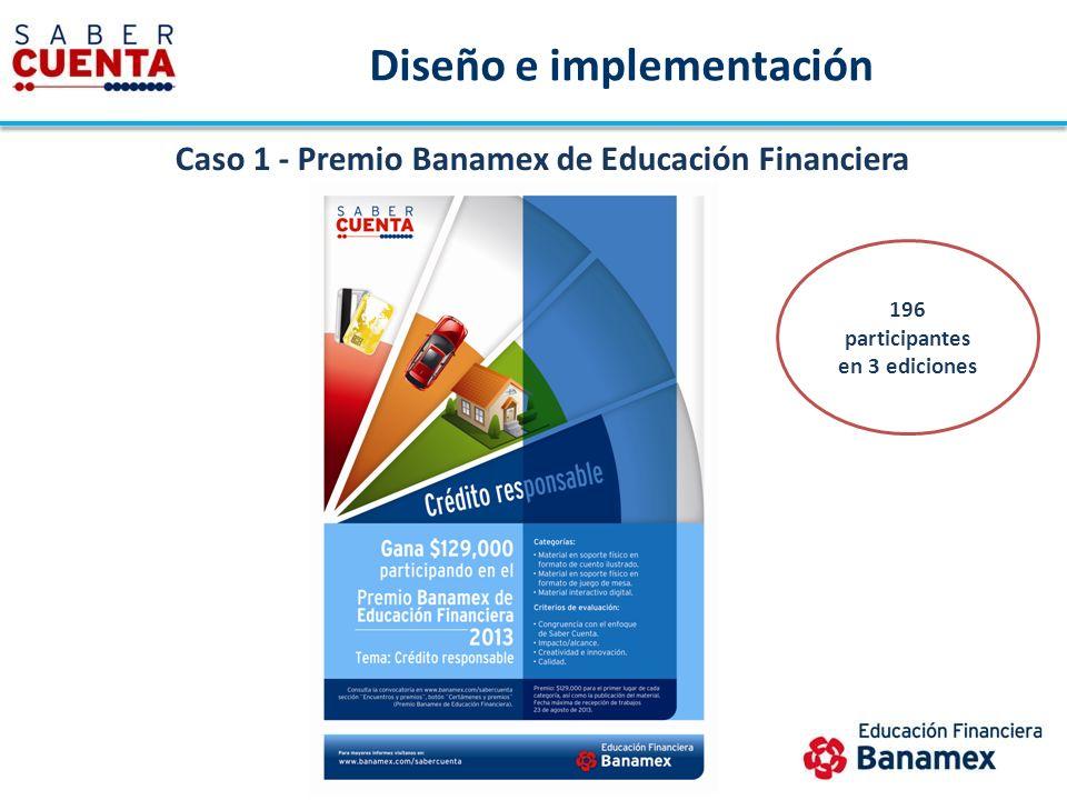 Diseño e implementación Caso 1 - Premio Banamex de Educación Financiera 196 participantes en 3 ediciones