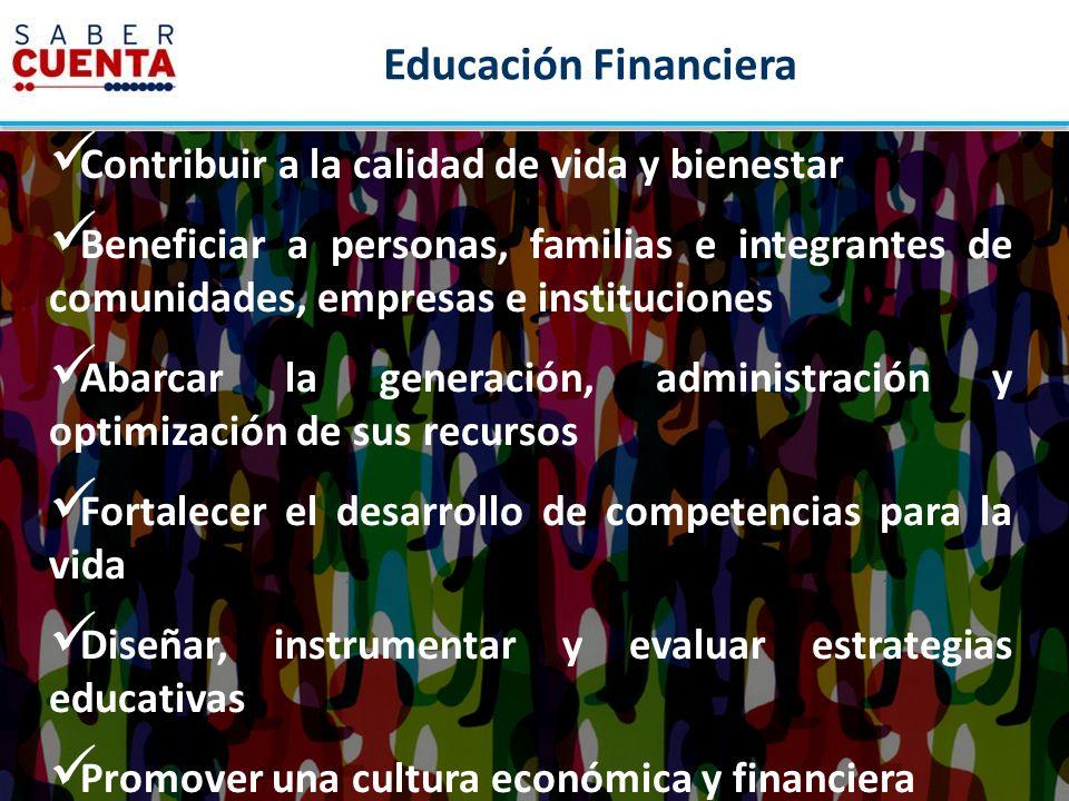 Educación Financiera Contribuir a la calidad de vida y bienestar Beneficiar a personas, familias e integrantes de comunidades, empresas e institucione