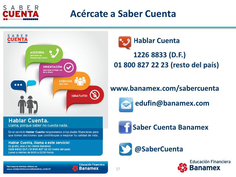 Acércate a Saber Cuenta 17 Hablar Cuenta 1226 8833 (D.F.) 01 800 827 22 23 (resto del país) Saber Cuenta Banamex @SaberCuenta www.banamex.com/sabercue